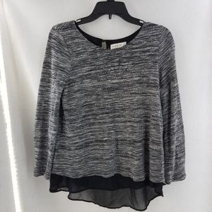 ABERCROMBIE FITCH Black Stripe Top Sheer Back Sz S